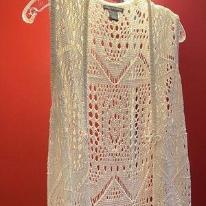 Duster length crocheted vest